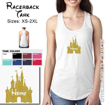 Disney Castle Home - Ladies Racerback Tank Top  - Glitter Sparkle