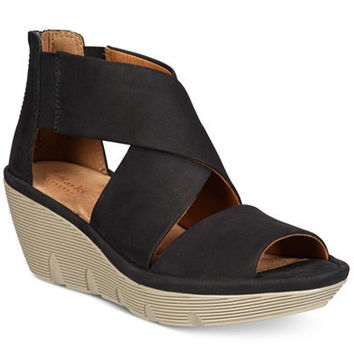 CLARKS ARTISAN WOMENS CLARENE GLAMOUR WEDGE SANDALS