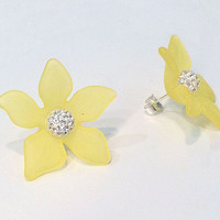 Yellow Star Flower Earrings with Sterling Silver 6mm White Crystal Ball Stud Earring