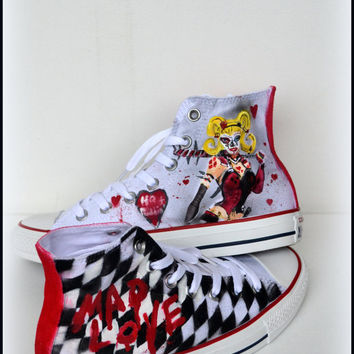 Custom Womens Shoes, Harley Quinn Shoes, Painted Converse, Womens Converse High tops, Painted Converse, Womens Shoes, Comic Con