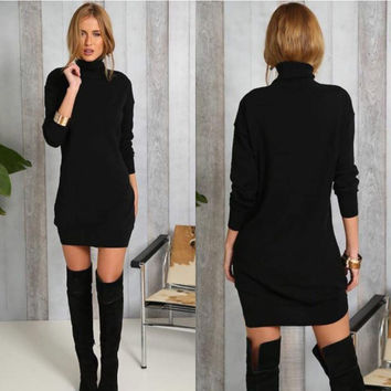 Black Long Sleeve Turtle Neck Mini Dress