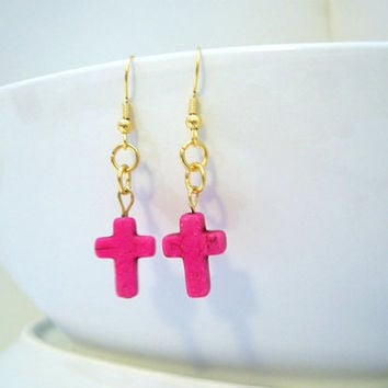 Pink and Gold Cross Earrings, Christian Jewelry, Religious Pink Turquoise Earrings, Spiritual Jewellery, Pink Earrings, Cross Pendant