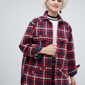 Monki Check Lightweight Jacket With Pockets at asos.com