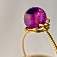 FREE SHIPPING Purple amethyst crystal stone handmade wire wrapped ring