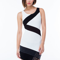 Cross The Line Mesh Contrast Dress