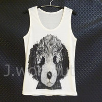 Poodle tank top cute puppy dog art Off-white woman teen girl men singlet apparel size S/ M/ L gifts