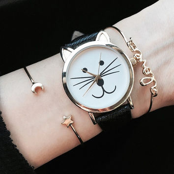 Cat Watch Leather Watch Wrist Watch Ladies Watch Kitty Watch Wristwatch Cat Gift Cat Jewelry Cat Lover Crazy Cat Lady Birthday Present