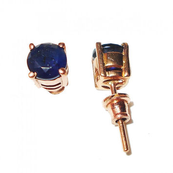 Sapphire Corundum Studs, faceted studs, Post Stud Earrings, Rose Gold Vermeil, Prong Set Studs, Brass Studs Earring, Blue Corundum Earring
