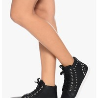 Black Star Studded Affair Hi Top Sneakers | $12.50 | Cheap Trendy Boots Chic Discount Fashion for W