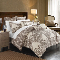 Chic Home 6 Piece Parma Oversized overfilled REVERSIBLE printed Comforter Set. Front a traditional pattern and Reverses into a houndstooth pattern, Twin, Beige