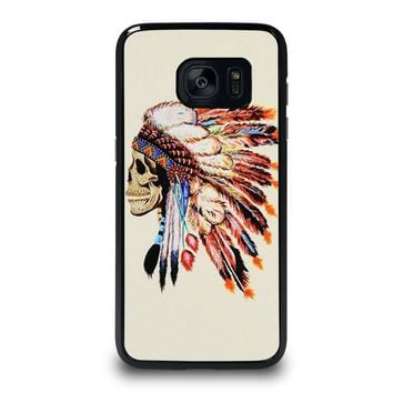 INDIAN FEATHER SKULL Samsung Galaxy S7 Edge Case Cover