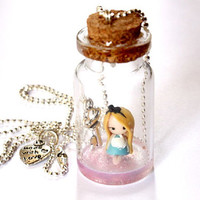 Alice in wonderland inspired, Alice in a bottle Necklace