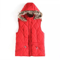 Fur Hooded Zipper Pocket Sleeveless Parka Coat