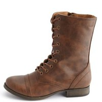 Cap-Toe Lace-Up Combat Boots by Charlotte Russe