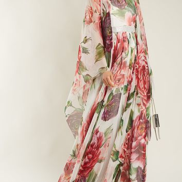 Peony-print silk-chiffon dress | Dolce & Gabbana | MATCHESFASHION.COM US
