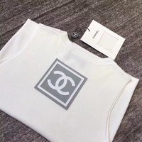 """Chanel"" Women All-match Fashion Simple Letter Sleeveless Knit Vest Tops"