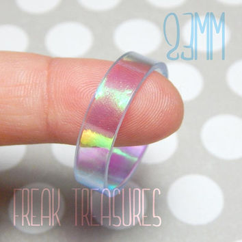 Rainbow holographic resin ring for men.