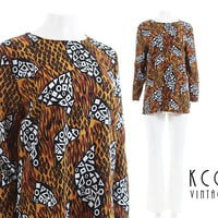 """Abstract Print Blouse 80s Clothing Animal Print Top 90s Hip Hop Clothing Long Oversized Top Vintage Clothing Women's Size MEDIUM 42"""" Bust"""