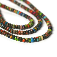Mixed Impression Jasper Rondelles / 4mm x 2mm colorful gemstone rondelle bead / FULL strand (1113S)
