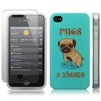 iPhone 4S / iPhone 4 Pugs and Kisses (Designed by Creative Eleven) Image TPU Gel Skin / Case / Cover and Screen Protector -