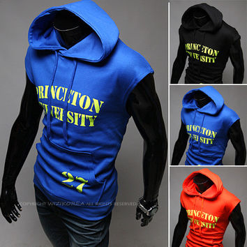 Summer Men Hoodies Alphabet Men's Fashion Hats Sleeveless Korean Slim Jacket [6528647875]
