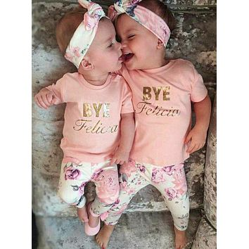 Bye Felicia Baby Kid Child Toddler Newborn Outfit T-shirt, Pants & Headband
