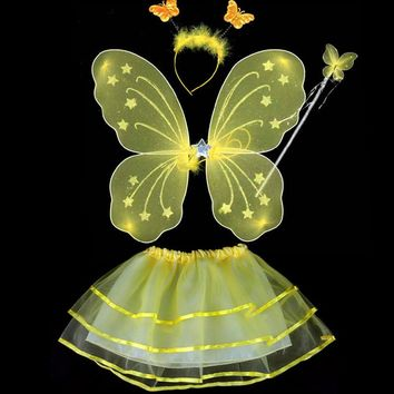 Kids Girls Party Dresses  Performance Clothes 4 Pcs Fairy Princess Kids Costume Sets Butterfly Wings  Headband  wand