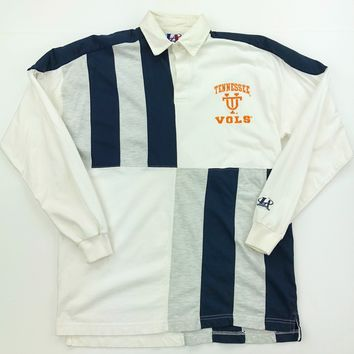 Adult Vintage UT Long Sleeve Navy Rugby Striped Polo Shirt