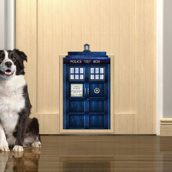 Tardis pet door sticker. Peel & Stick Removable Decole, Mural, Skin, Decal, Wrap.