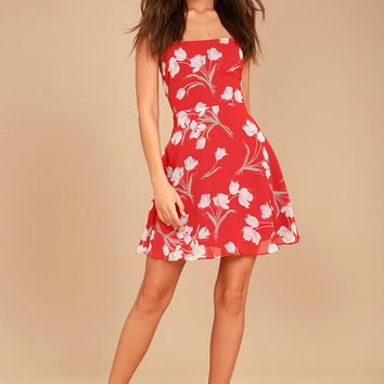 Blooming Beauty Red Floral Print Dress
