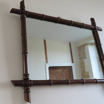 Antique French, Large, Faux Bamboo Mirror, Home Decor, COURIER