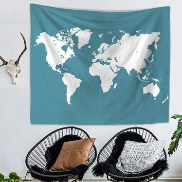 Wall Tapestry Watercolor World Map Wall Decor Large Wall Hanging Wall Art 150x130cm/200x150cm