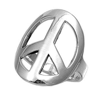 925 Sterling Silver Peace is at Hand 24MM Ring