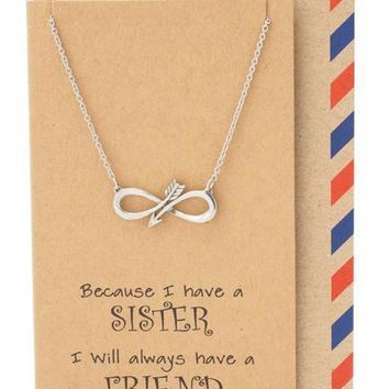 Yvette Infinity Arrow Necklace, Sister Jewelry with Sister Quotes Greeting Card