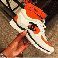 Chanel Women Trending High Tops Fresh Color Sneakers Sports Shoes B-GSXC-LXYZ Orange