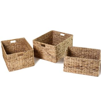 Set Of 3 Seagrass Woven Baskets With Handles