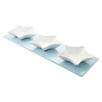 Tide Set of 3 Starfish Dip Bowls on Blue Tray