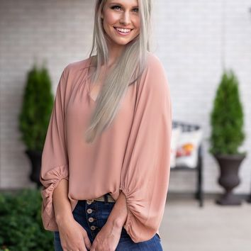 Clouded Dreams Balloon Sleeve Blouse : Ginger
