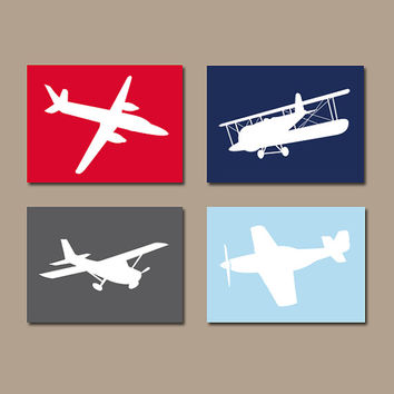 AIRPLANE Wall Art CANVAS or Prints Boy Nursery Airplanes PLANES Red Navy Blue Gray Child Set of 4 Boy Bedroom Decor