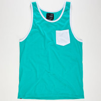 Blue Crown Mens Contrast Pocket Tank Aqua  In Sizes