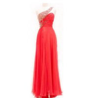 2013 Custom A-line Chiffon With Beads Sexy Long Red Prom/Evening/Party/Homecoming/Bridesmaid/Evening Gown/Cocktail/Formal Dress For Women