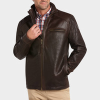 MARC NEW YORK BROWN LEATHER HIP LENGTH MODERN FIT JACKET
