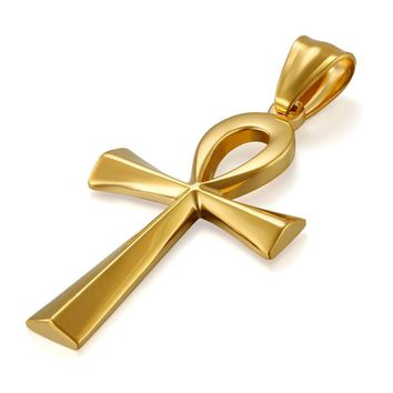 SHIPS FROM USA Egyptian Ankh Gold Cross Necklace for Women Men Jewelry Stainless Steel Prayer Necklaces & Pendants Free 19.7