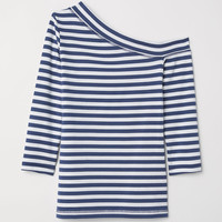 One-shoulder top - Blue/White striped - Ladies | H&M GB