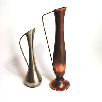 Mid Century West German Copper Brass and Pewter Pitcher Vase Set