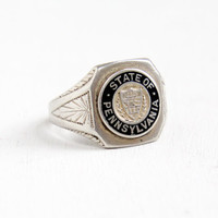 Vintage Sterling Silver State Of Pennsylvania Ring - Art Deco 1930s Size 5 State Seal Enamel Jewelry