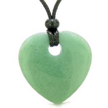 Amulet Large Lucky Heart Donut Shaped Charm Green Quartz Gem Pendant Spiritual Powers Necklace