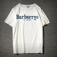 "Hot Sale ""Burberry"" Popular Women Men Loose Letter Embroidery Short Sleeve Round Collat T-Shirt Pullover Top White I12052-1"