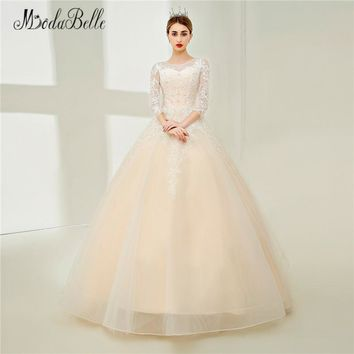 modabelle Champagne Vintage Lace Wedding Dress With Sleeves Transparent Church Puffy Robe De Princesse Bridal Gowns 2018