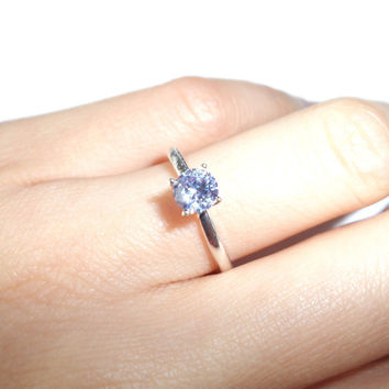 4 Sizes - 1/2 carat Fancy French Lavender Purple Diamond Engagement Ring, Man Made, Wedding ring, Birthstone ring, Sterling Silver